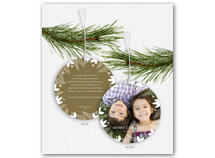 Holly & Berry Border Photo Ornament Holiday Cards